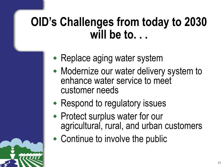OID's Challenges from today to 2030