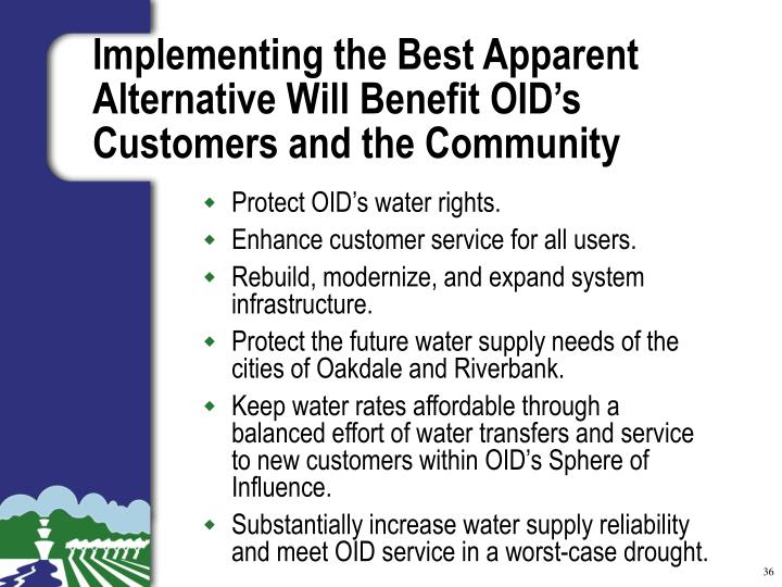 Protect OID's water rights.