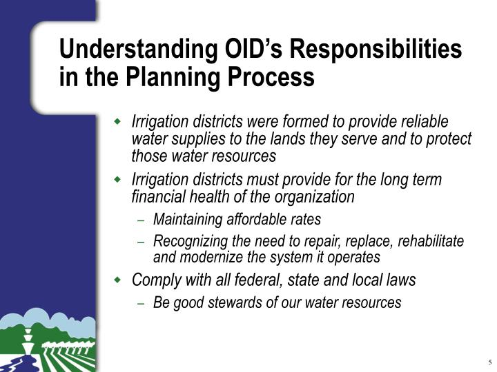 Understanding OID's Responsibilities in the Planning Process