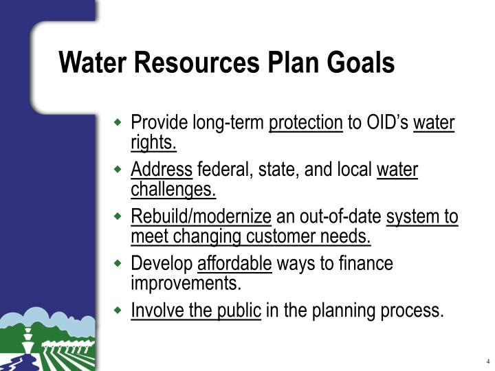 Water Resources Plan Goals