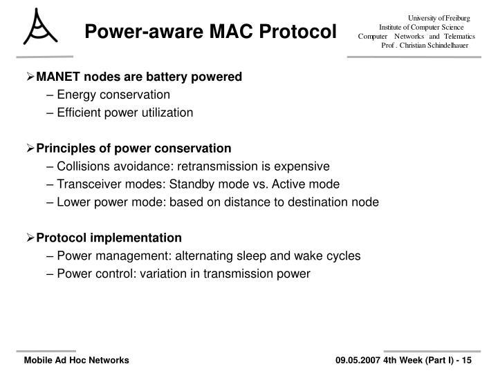 Power-aware MAC Protocol