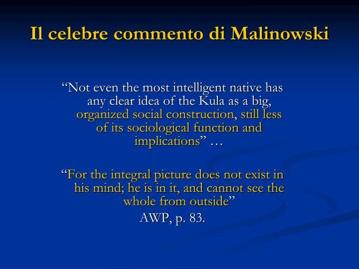 Il celebre commento di Malinowski