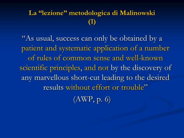 """La """"lezione"""" metodologica di Malinowski"""