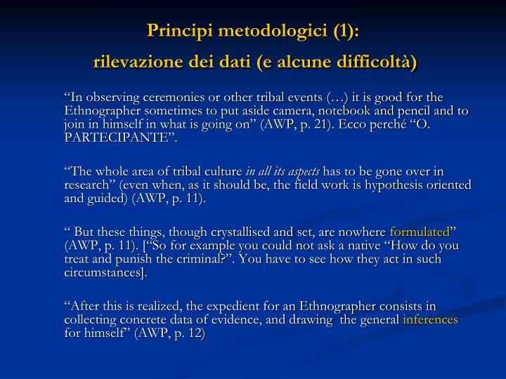 Principi metodologici (1):