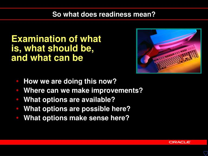 Examination of what is, what should be, and what can be