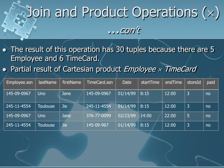 Join and Product Operations (