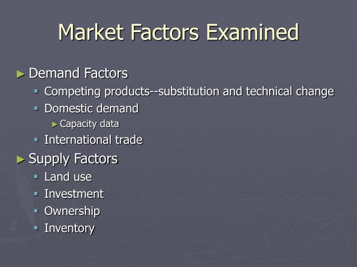 Market Factors Examined