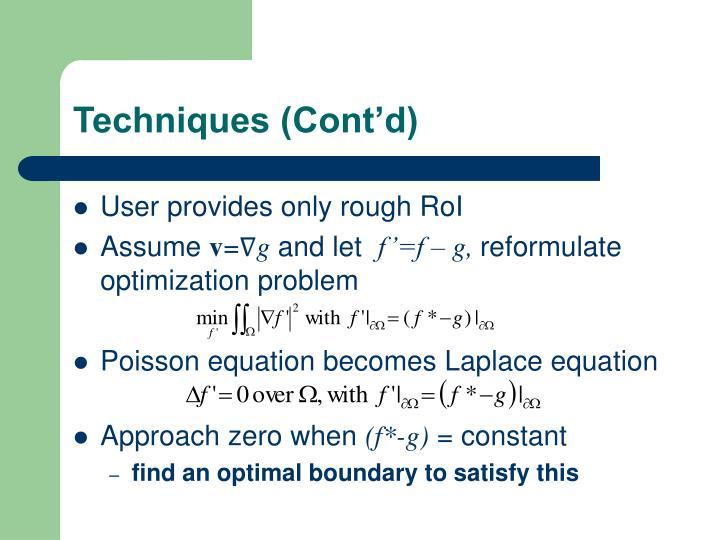 Techniques (Cont'd)