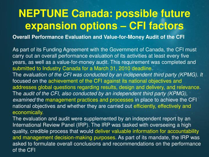 NEPTUNE Canada: possible future expansion options – CFI factors