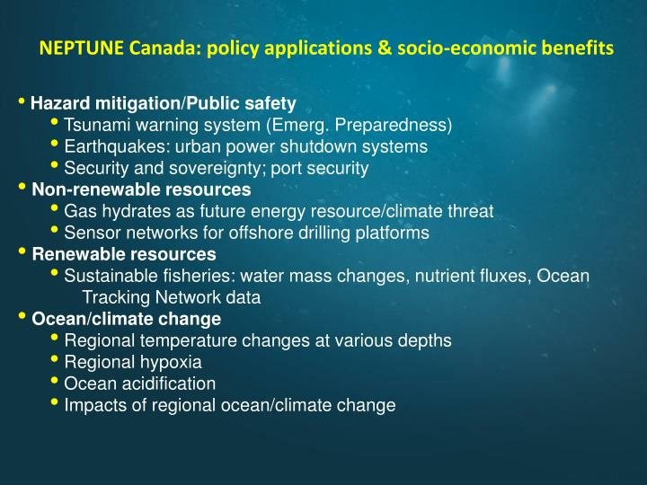 NEPTUNE Canada: policy applications & socio-economic benefits