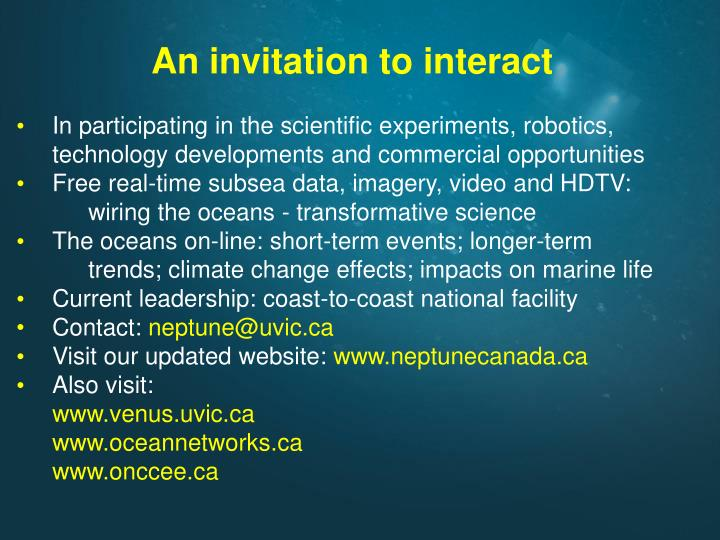 An invitation to interact