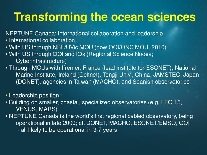 Transforming the ocean sciences