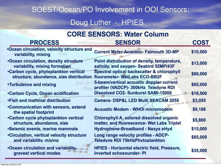 SOEST/Ocean/PO Involvement in OOI Sensors: