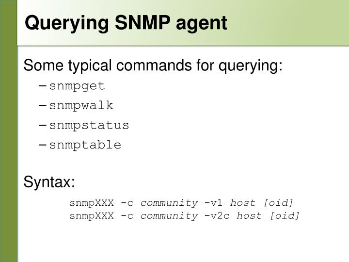 Querying SNMP agent