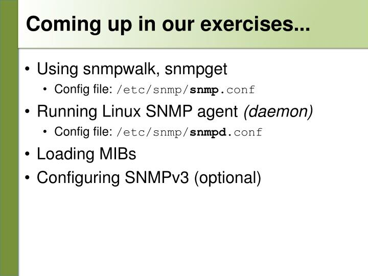 Coming up in our exercises...