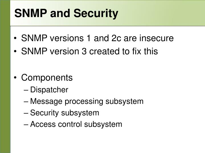 SNMP and Security