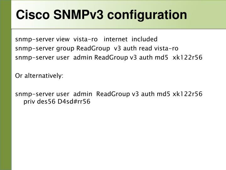 Cisco SNMPv3 configuration
