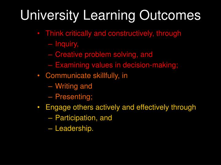 University Learning Outcomes