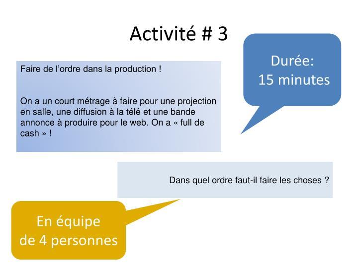 Activité # 3