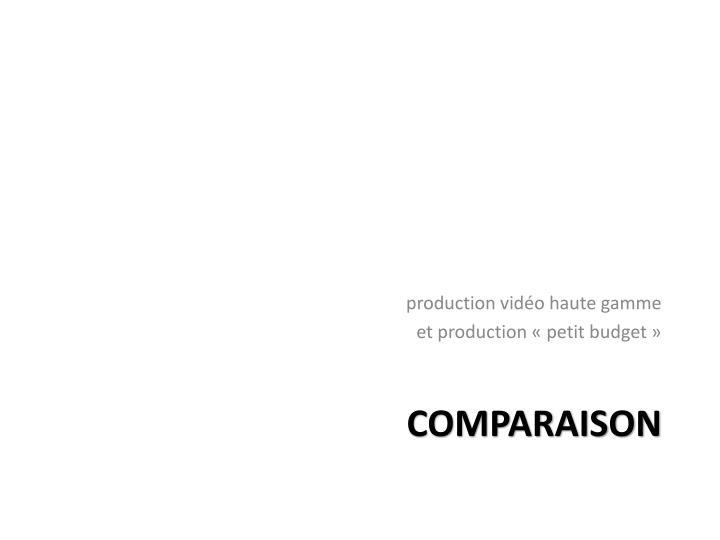 production vidéo haute gamme