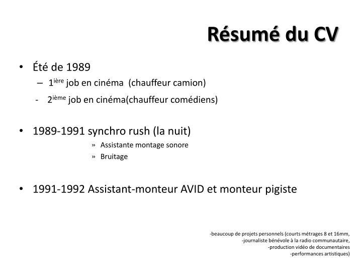 Résumé du CV
