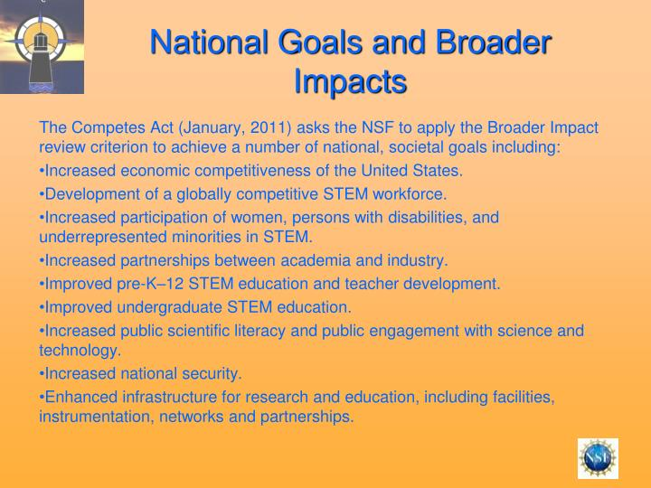 National Goals and Broader Impacts