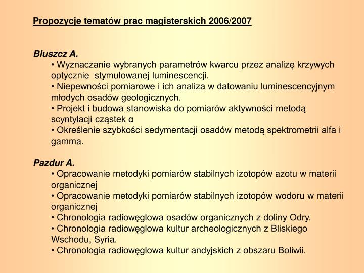 Propozycje tematów prac magisterskich 2006/2007