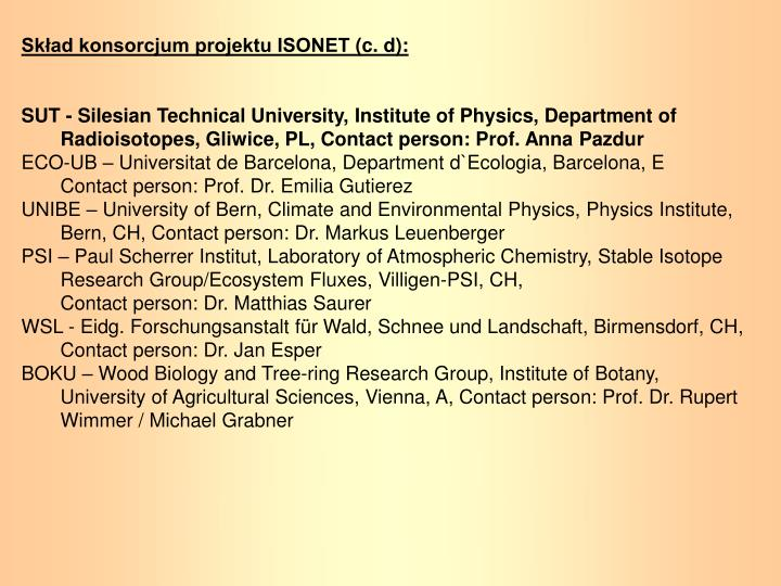 Skład konsorcjum projektu ISONET