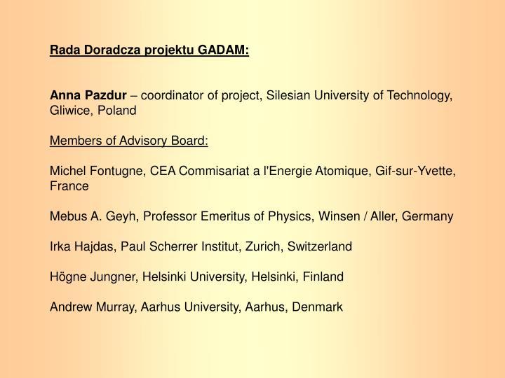Rada Doradcza projektu GADAM: