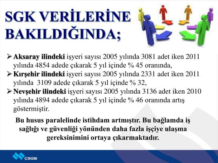 SGK VERİLERİNE