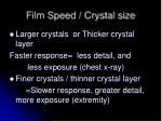 film speed crystal size