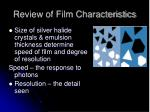 review of film characteristics