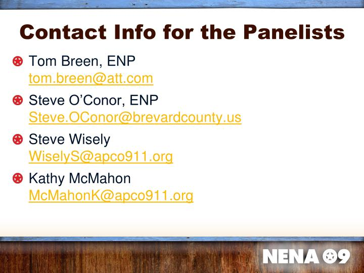 Contact Info for the Panelists