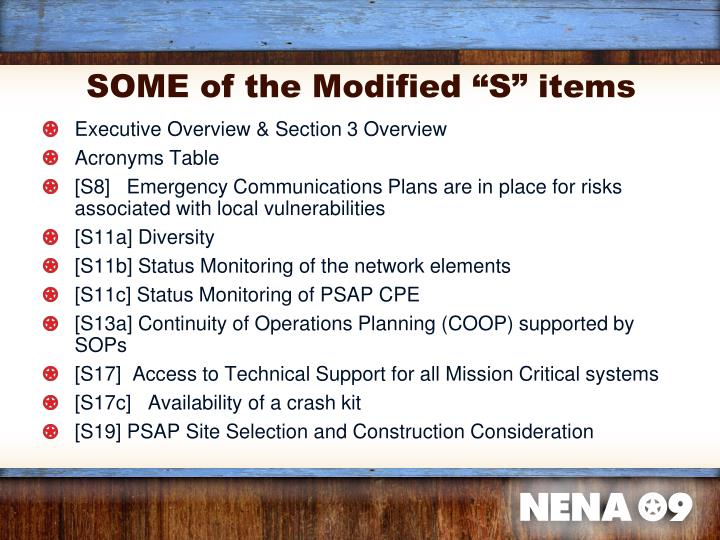 """SOME of the Modified """"S"""" items"""