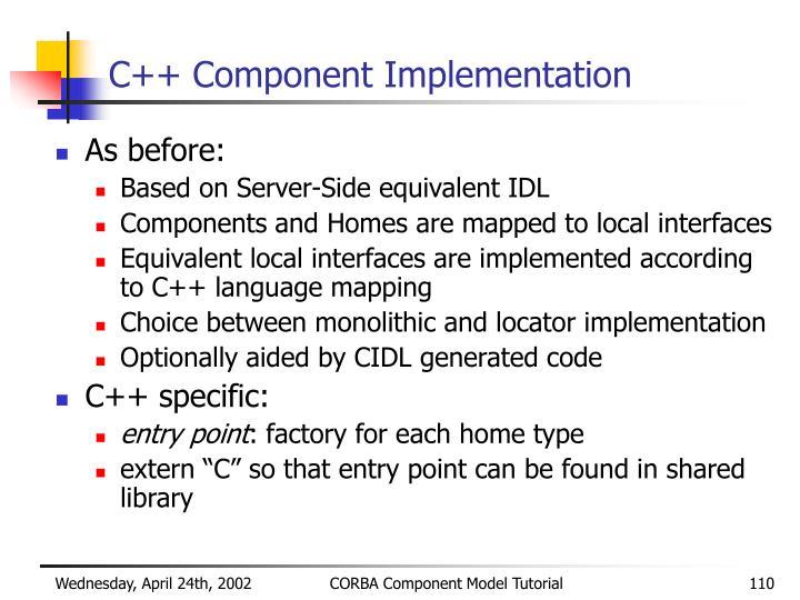 C++ Component Implementation