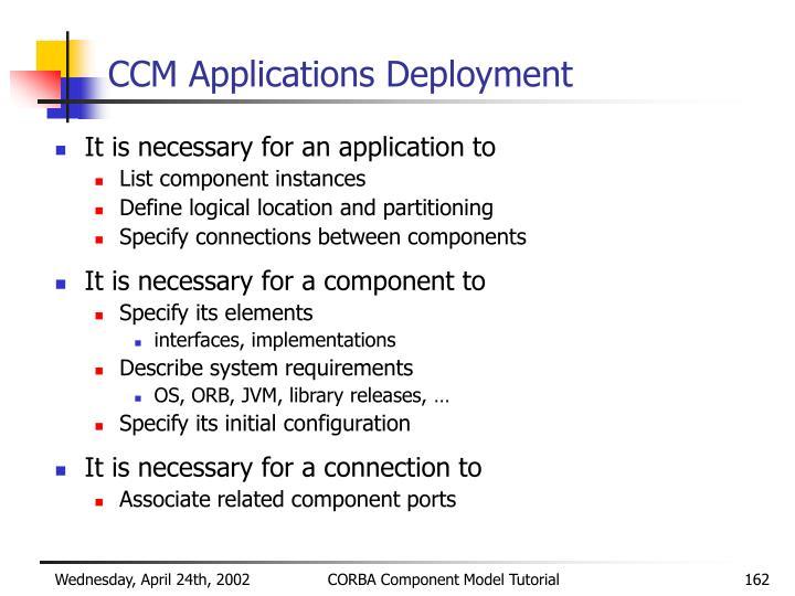 CCM Applications Deployment