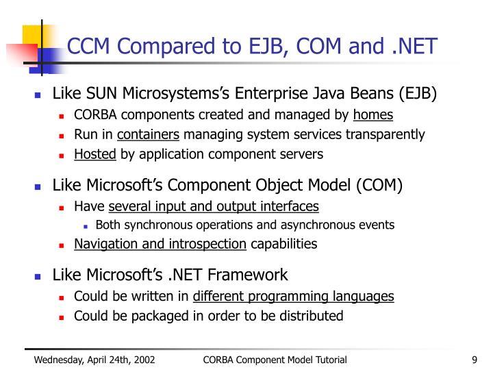 CCM Compared to EJB, COM and .NET