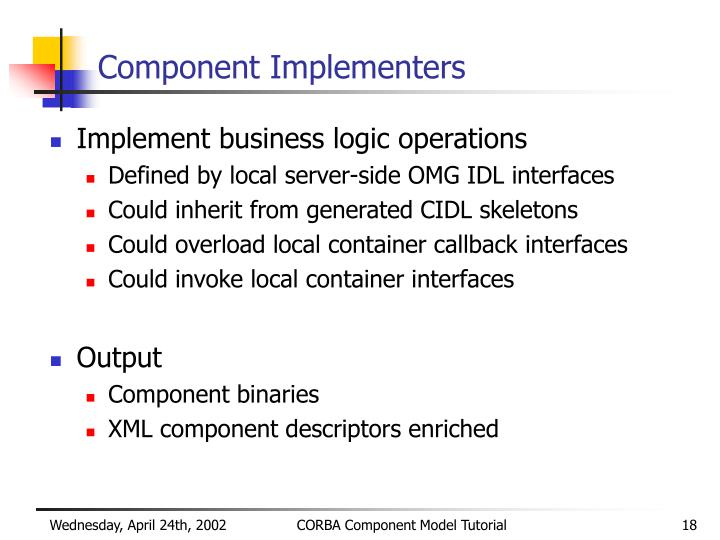 Component Implementers