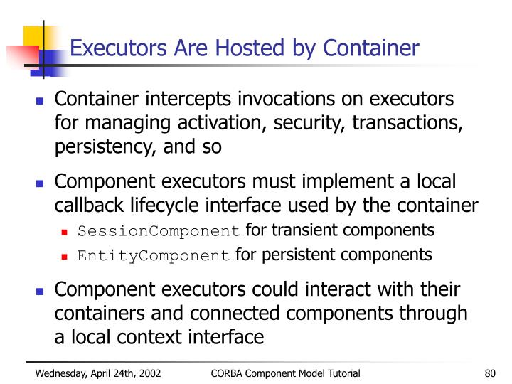 Executors Are Hosted by Container