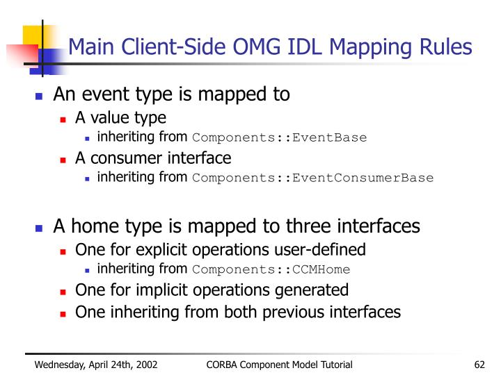 Main Client-Side OMG IDL Mapping Rules
