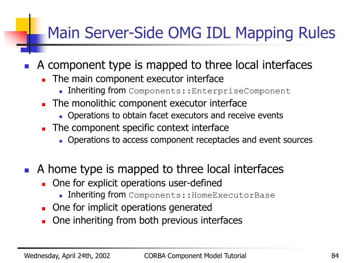 Main Server-Side OMG IDL Mapping Rules