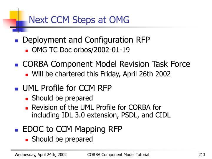 Next CCM Steps at OMG