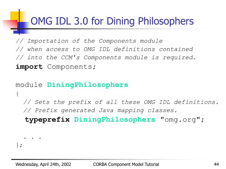 OMG IDL 3.0 for Dining Philosophers