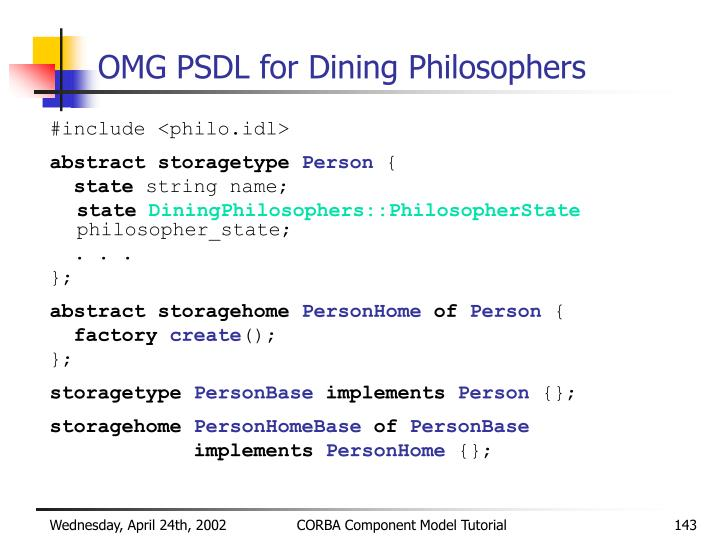 OMG PSDL for Dining Philosophers
