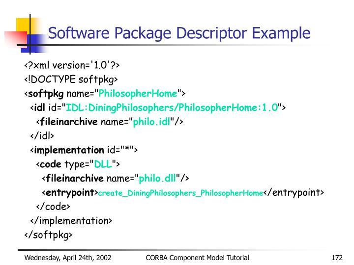 Software Package Descriptor Example