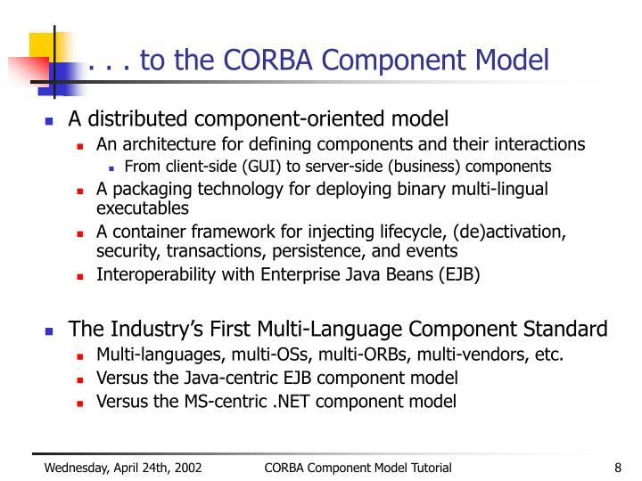 . . . to the CORBA Component Model