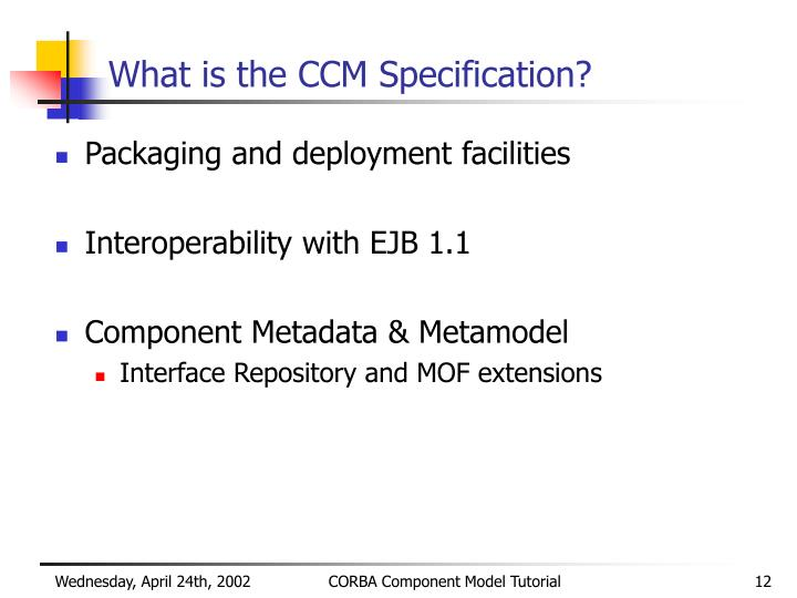 What is the CCM Specification?