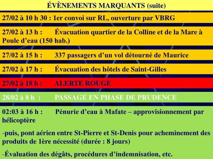 ÉVÈNEMENTS MARQUANTS (suite)