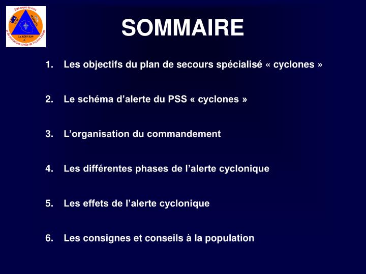 Les objectifs du plan de secours spécialisé « cyclones »