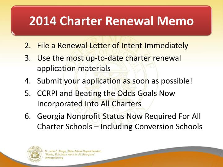 2014 Charter Renewal Memo
